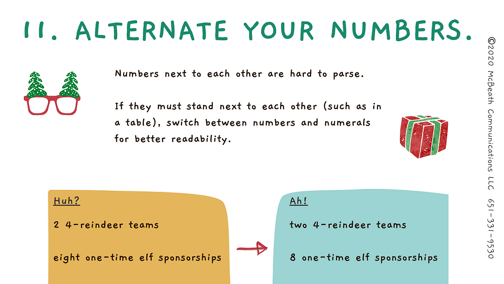 Alternate your numbers.