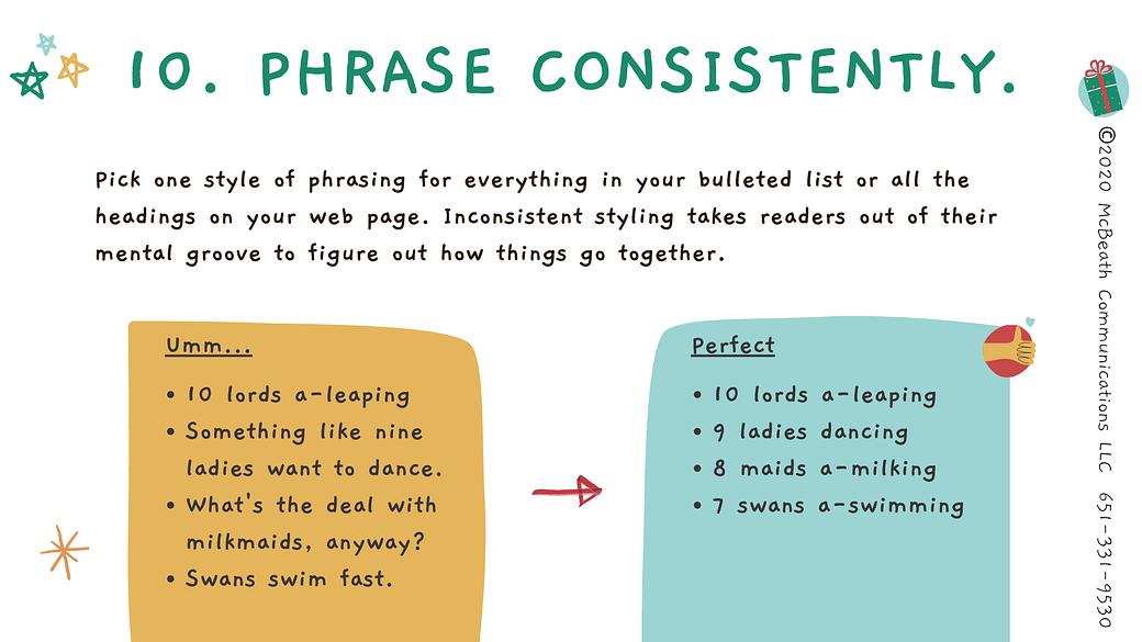Phrase consistently